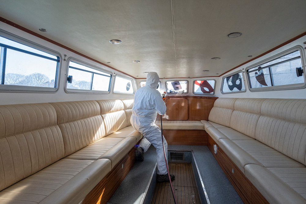 cleaning the interiors of a yacht