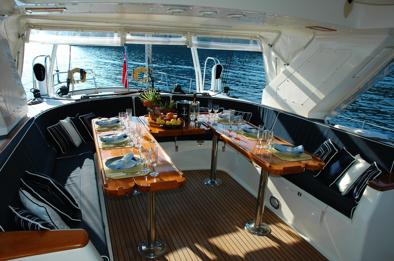 Pristine interior of a yacht