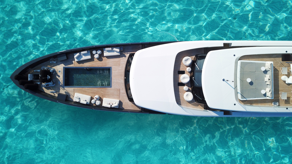 aerial view of a luxury yacht