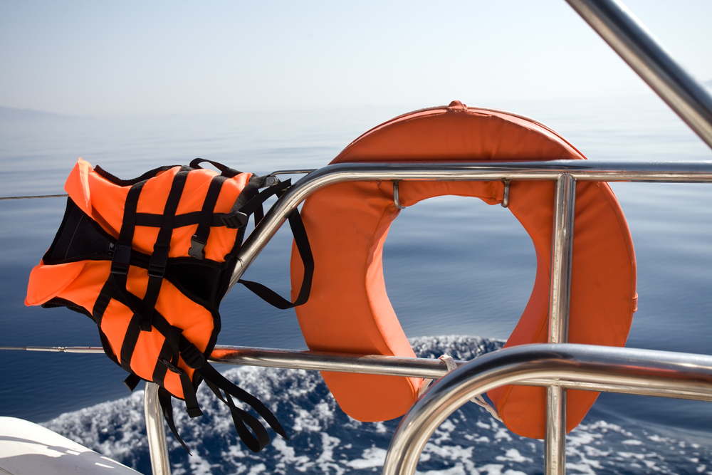 a life jacket and floating device on a yacht