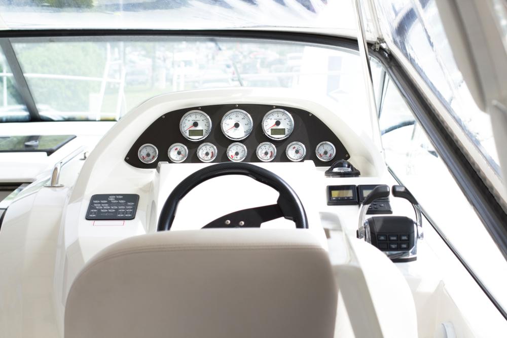 a yacht's steering wheel