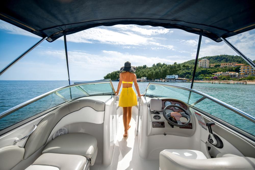 a woman on a yacht