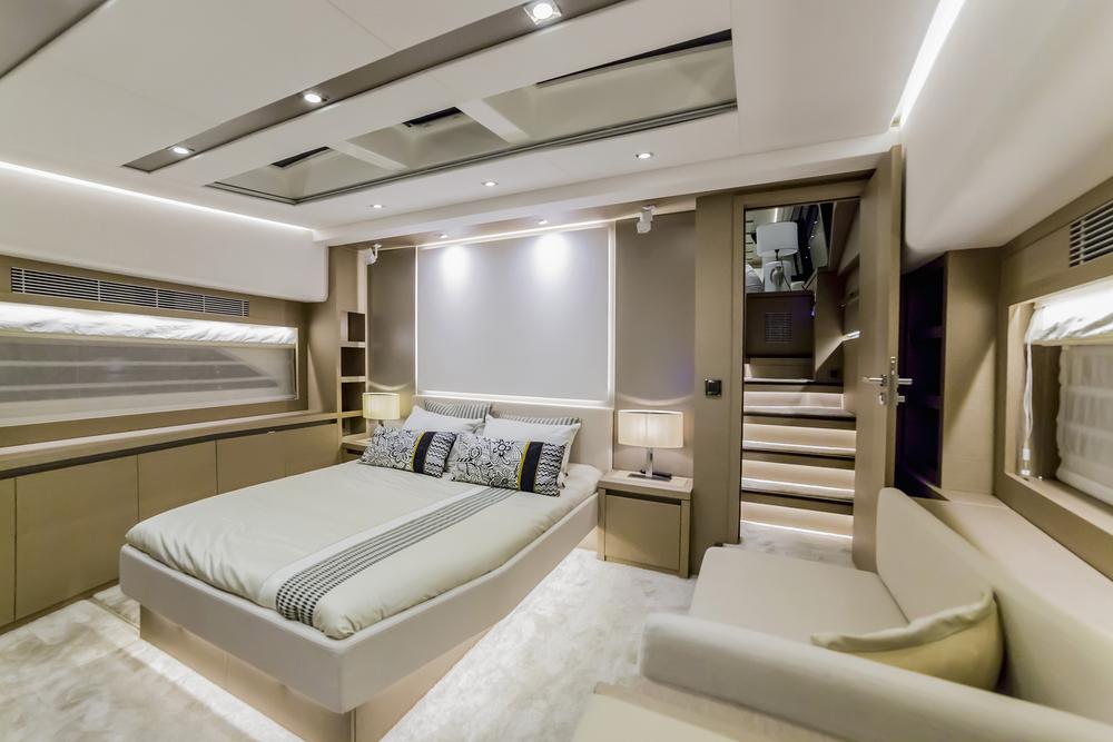 neutral color scheme inside a yacht