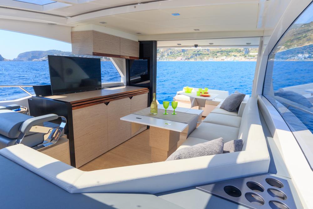 a semi-al fresco yacht interior